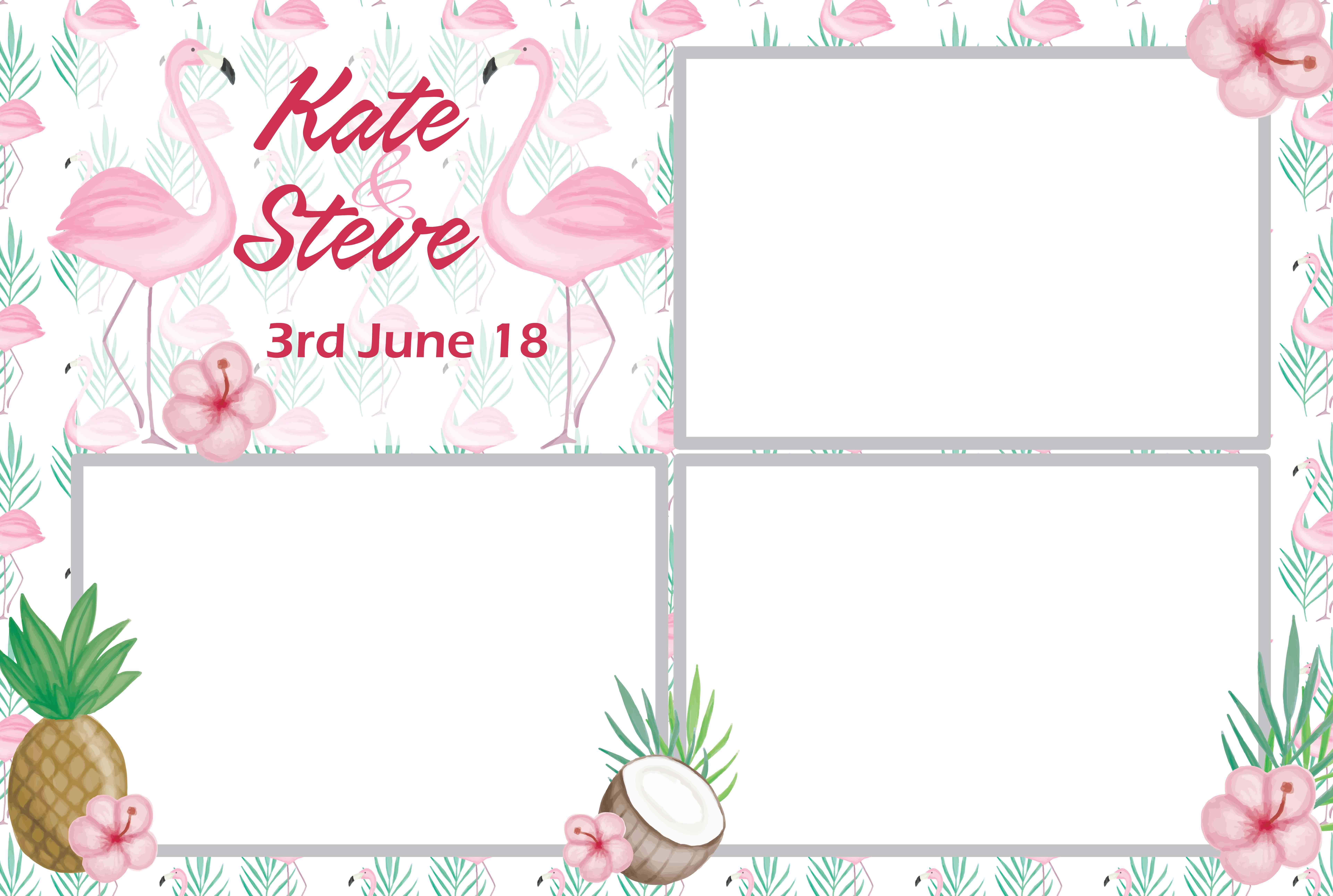 Photo booth template tropical flamingo