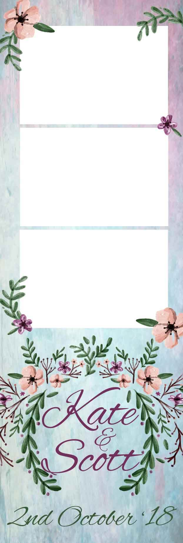 Photo booth template floral strip print
